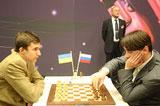 Morozevich, a la derecha, próximo rival de Leinier